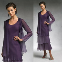 Wholesale Cheap Winter Outfits - Chic Purple Chiffon Mother Of The Bride Dresses With Long Jacket 2017 Plus Size Tea Length Two Piece Groom Mother Formal Outfits Cheap