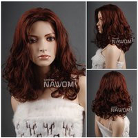 Wholesale Long Reddish Brown Hair - W3432 Halve Hair Reddish Brown Medium Long Curly Women Synthetic Wigs 17 inch Kanekalon Material Quality