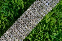 Wholesale Close Trimmer - free shipping 1 yard 6-row clear 4mm close chain silver Cake Ribbon Crystal Rhinestone trims sewing accessories