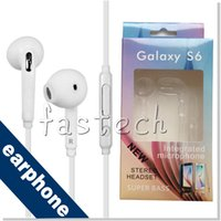 Wholesale Earphones Jack White - S6 Earphone S6 Edge Earphones Headphone Earbuds Jack with Microphone and Volume Control for Samsung Galaxy S6 S5 S4 Black White Color