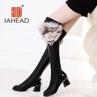 Wholesale Wholesale Winter Boots For Sale - Wholesale- RU Hot sale Products ! Russian Women PU Boots Wedges Shoes Winter shoes woman For Woman Knee High Boots UPB12