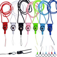 Wholesale cell flash cards - Rotatable Neck Strap Detachable Ring Lanyard hanging Charming Charms For Cell Phone MP3 MP4 Flash Drives ID Cards Cell phone Colorful 100pcs