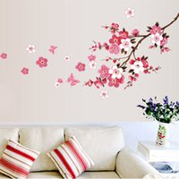 Wholesale Modern Cherry Blossom Decor - Wholesale- Cherry Blossom Wall Poster Waterproof Background Wall Sticker for Living room Bedroom Cafe Home Decor Free Shipping