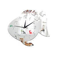 Home Decor Bricolage Big Fish Miroirs Surface Wall Clocks Cercle Circle Papillon Digital Design Moderne 3D Montre Miroir Horloges murales