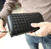 Wholesale Handmade Phone - small wallet male package Korean fashion woven leather men wallet fashion leisure business handmade men multi-functional Wallet