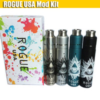 Wholesale gold rebuildable mods for sale - Group buy Newest Rogue USA Kit With Rogue full Mechanical Mod Rebuildable Dripping Atomizer Battery Vapor mods e cigarettes Vape pen Kits DHL