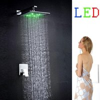Wholesale Square Rain Shower Led 12 - 12 inches RGB led temperature control brass led rain shower set