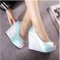 Wholesale Mary Platform - Fish mouth shoes summer model 2017 high with Bohemian waterproof platform wedge sandals white female summer