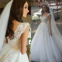 Wholesale line sweetheart satin wedding dress red for sale - Elegant Latest Sweetheart Neck A line Wedding Dresses Tulle Satin Button up Back Court Train Western Style Bridal Dresses Wedding Gowns
