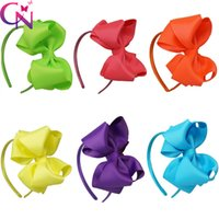Wholesale Orange Hair Bow - 12 pcs lot 6 colors 4.5 inch Double Stacked Grosgrain Ribbon Hair Bows Neon Color Hair Band