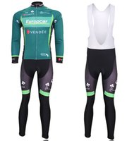 Wholesale Bib Europcar - 2017 special Europcar winter fleece thermal cycling jersey and bib pants winter Cycling Clothing ciclismo maillot MTB W53