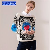 Wholesale Openwork Crochet Sweater - 2017 Women Sweater Coat Fashion Canvas Printed Jumper Pullover Autumn Winter Floral Long Sleeve Sweaters Girlfriend Gift Sueter