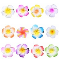 Wholesale Hawaiian Foam Flower Frangipani - 15% off! 4-11cm Cute Hawaiian Plumeria flower Foam Hair Accessory Frangipani Hairgrips Hairpin Hair Clip baby girl barrettes 9 colors 50pcs