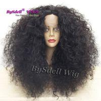 волосы черные большие волны оптовых-Новое поступление большой афро вьющиеся волосы парик черная женщина натуральная волна прическа синтетические парики фронта шнурка для чернокожих женщин