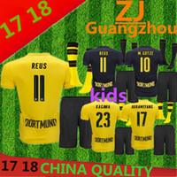 Wholesale Youth Football Jerseys China - China quality 2017 2018 Kids + socks Dortmundes soccer jerseys 17 18 youth AUBAMEYANG GOTZE MOR REUS home away football jersey SAHIN child