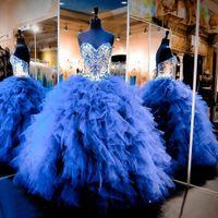 uzun ufak tefek elbiseler toptan satış-Pricness Kraliyet Mavi Quinceanera Elbiseler Basamaklı Ruffles Tül Genç Boncuklu Kristal Tatlı 16 Uzun Balo Parti Abiye Pageant elbise