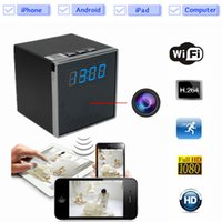 Wholesale Motion Activated Spy Camera Clock - 1080P HD P2P Wifi Hidden Camera Mini Clock Spy Camera Motion Activated Video Recorder Security Surveillance Camcorder Support IOS Android