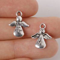 Wholesale Braclets For Wholesale - Wholesale-14Pcs lot 13*17mm Zinc Alloy Antique Silver Plated Angel Charms Pendants Jewelry Findings For Necklace Braclets