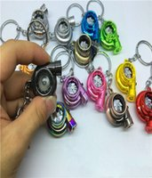 Wholesale Antique Torch - Turbo Keychain Fans Creative Fashion Led Electric Torch Spinning Favorite Sleeve Bearing Turbine Turbocharger Keyring Key Chain Ring Keyfob