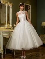 Wholesale Short Sexy Weddingdress - Vestidos De Casamento A Line Custom Made Tea Length Short Formal Bridal Dress Hochzeit Weddingdress SW037 short wedding Gown