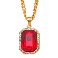 Wholesale 22k Gold Plated Jewelry - Fashion Hip Hop Iced Ruby Rock Pendant Men Jewelry 22K Gold Filled Stainless Steel Gemstone Pendants Necklace Cuban Link Chain 5mm