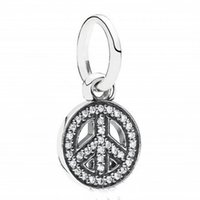 Wholesale Dangle Peace - 2017 Autumn New Authentic 925 Sterling Silver DIY Jewelry Pave CZ Symbol Of Peace Dangle Charms Beads Fits European Bracelet Making HB464