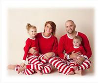 Wholesale family christmas stockings for sale - Group buy Christmas Family pajamas stripe red green soft stock blank kids mom dad Cotton Youth Pajamas Set