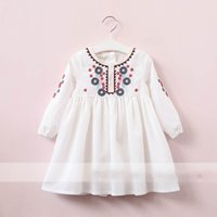 Wholesale Girls Ethnic Dresses - Everweekend Girls Floral Embroidered Ruffles Dress Cute Baby White Color Clothes Princess Ethnic Style Autumn Party Clothing