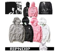 Wholesale Acrylic Dip - ripndip hoodie men women Long sleeve pocket cat jackets thin windbreaker 2017 palace skateboards tracksuit rip n dip sweatshirts sup