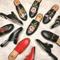 Wholesale rabbit slippers - Street Style Celebrity Flats Black Gold Red Leather Rabbit Fur Slippers Horsebit Buckled Flat Casual Shoes Slip On Plush Lazy Shoes Woman