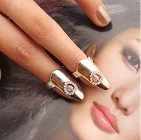 Wholesale gold finger bands girls for sale - Group buy Handmade Finger Nail Rings Heart Charm Rhinestone Cluster Party Fingernail Rings For Girls Ladies Gold Silver