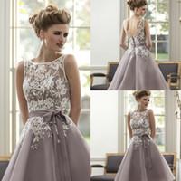 Wholesale Mid Calf Lavender Dress - Organza Purple Scoop Sleeveless Custom Made A-Line Mid-Calf Lace Long Maid Of Honor Bridesmaid Dresses