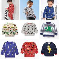 Wholesale collared hoodies girls - Autumn Cartoon Baby Boys Girls Long Sleeve Hoodies Casual Dinosaur Stripe Kids Thicken Round Collar Sweatshirts