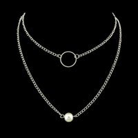 Wholesale Multi Layer Pearls Necklace - 2 Pcs set Jewelry Silver Color Multi Layers Chain With Simulated-pearl Circle Pattern Necklace For Women Accessories
