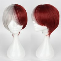 Perruques Pour Femme Blanche Cosplay Pas Cher-Fashion Women Party Cosplay Wig Red and White Hair Styling Cosplay Short Straight Wig