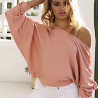 Wholesale Pink Ribbon Sweater - Wholesale 2018 new Women Sweater Autumn High Quarlity Long Length Fashion Off-Shoulder Pullovers Full Sleeve Casual Knitted Sweater Dress