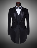 Wholesale Tuxedo Coats Tails - Wholesale-Custom Brand New cool Groom Tuxedos Men Wedding Dress Bridegroom Suit Best man Suit swallow-tailed coat (Jacket+Pants+tie+waist)