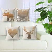 """Wholesale Weave London - 18X 18"""" London Style Decorative Cotton Linen Throw Pillow Cover Animal Cushion Case Pillow Case Free Shipping"""
