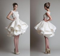 Reference Images knee length wedding dresses - Krikor Jabotian Gorgeous Wedding Dresses New Scoop A Line Beach Bridal Gowns Knee Length Short Cheap Organza Appliqued Bride Gowns