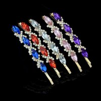 Wholesale Hair Ornaments For Women - Hot Sales Multi Colors Rhinestone Hair Accessaries Crystal Wheat shape Hairpins Barrettes Hair clips for women Hair Ornaments DHF489