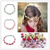 Wholesale Golden Hair Band - Children Hair Accessories Baby Golden Leaves Flower Headbands Kids Girls Hair Bands Woman Fashion Christmas Wreath Headwear 19Colors
