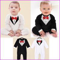 Wholesale Tuxedo For Baby Boys White - 3set lot newborn Boy Baby Formal Suit Tuxedo Romper Pants Jumpsuit Gentleman Clothes for infant baby romper jumpsuits