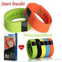 bilek spor band izle seyretme toptan satış-Bluetooth Akıllı Izle TW64 TW64S SmartBand Bilezik Giyilebilir Su Geçirmez Pedometre Spor Spor Kalp Hızı Bilek Mi daha Iyi bant