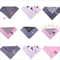Wholesale Mini Gift Towels - Newborn Mini Minky Blankets Toddler Minky Binky Burp Cloth Infant Pacifier Holder Baby Lovely Tag Blanket Baby Shower Back Towels Gift B2834