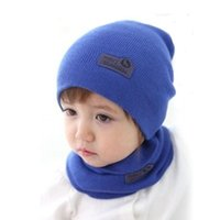 Wholesale Crochet Silk Scarf - 6 Colors! Spring Children Hedging Cap + Scarf Suit Leather Standard Solid Color Candy-Colored Wool Hats Newsboy Caps Baby Hat