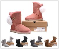 Wholesale Cheap Winter Snow Waterproof Boots - 2018 The new winter Free shipping Australian sheep leather fur waterproof antifouling women boots bow warm snow boots Sell cheap