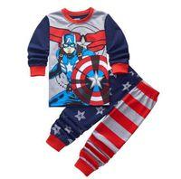 Wholesale Children Clothing Boy Years - Captain America Baby Sleepwear Kids Pajamas Sets 100% Cotton Toddler Boys Girls Pyjamas Long Sleeve Children Clothes 2-7 Years