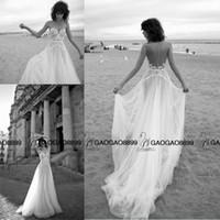 Wholesale Holiday Princess Dresses - Liz Martinez 2016 Elegant Lace Tulle Summer Holiday Beach Wedding Dresses Sheer Neck Illusion Back Cheap Bridal Boho Wedding Gown