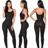 Wholesale Tights Leotards - Wholesale- Tight jumpsuit women 2017 summer fashion sexy halter long section tight leotard suspenders piece pants 7 Colors
