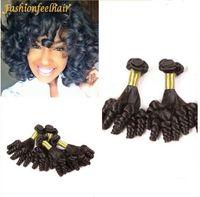 Wholesale Wholesale Hair Nigeria - Nigeria Aunty Funmi Hair Unprocessed Human Hair weft Brazilian Spiral Curls 3 Bundle UK Aunty Funmi Hair